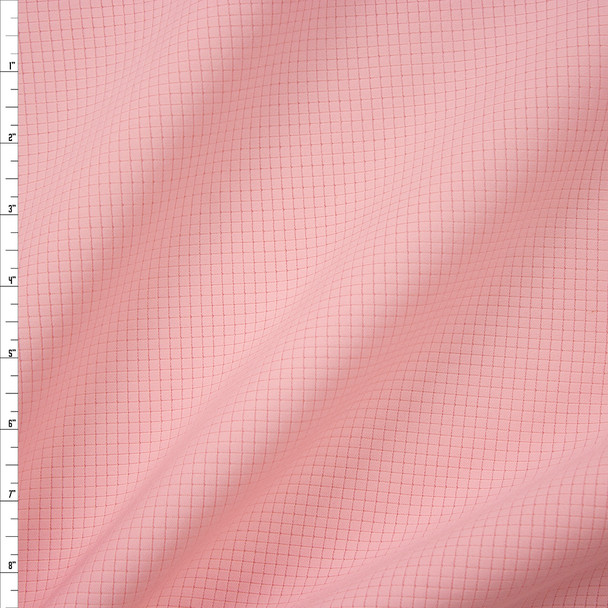 Light Pink Grid Texture Double Scuba Knit Fabric By The Yard