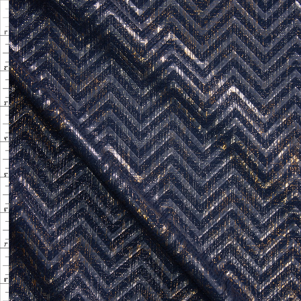 Gold and Silver Grunge Chevron on Navy Textured Liverpool Knit Fabric By The Yard