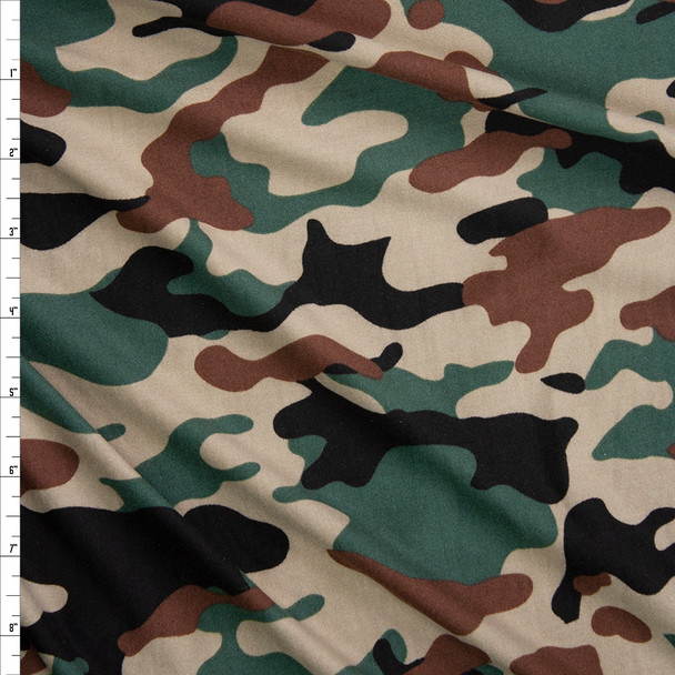 Classic Camouflage Double Brushed Poly/Spandex Fabric By The Yard
