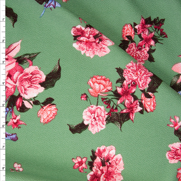 Pink and Blue Floral on Sage Green Crepe Liverpool Knit Fabric By The Yard