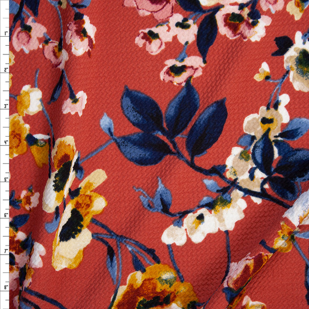 Teal, Pink, and Mustard Watercolor Floral on Terracotta Bullet Liverpool Knit Fabric By The Yard