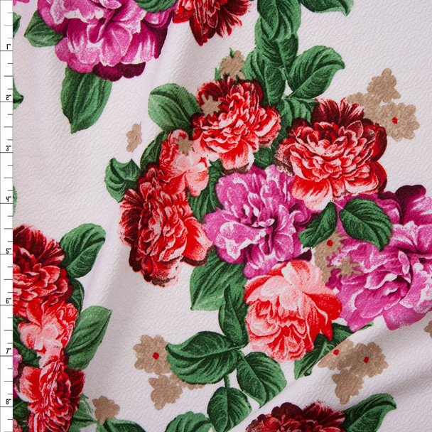 Red and Magenta Floral on Offwhite Crepe Liverpool Knit Fabric By The Yard