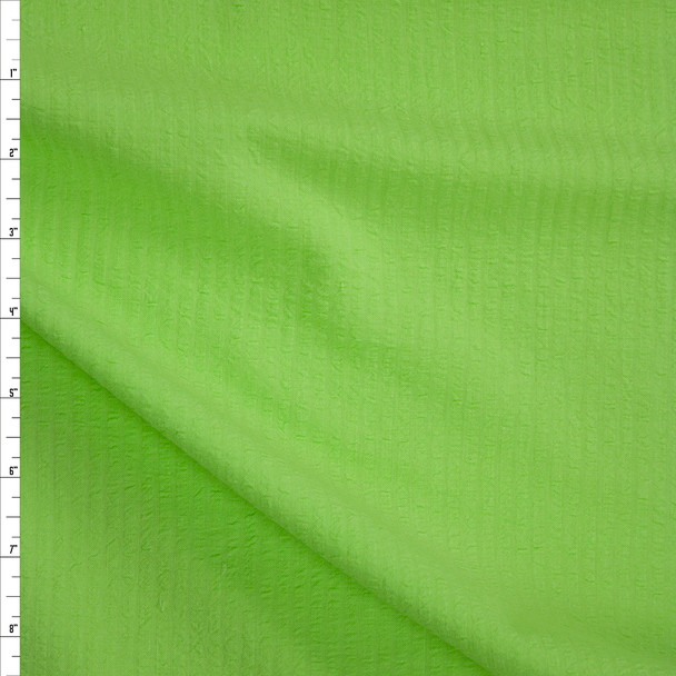 Bright Lime Cotton Seersucker Fabric By The Yard
