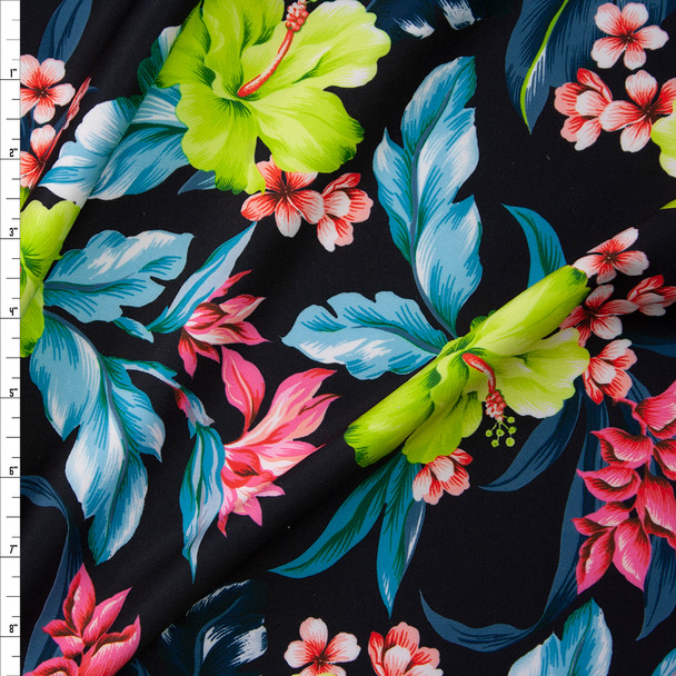 Bright Lime and Teal Hawaiian Floral on Black Scuba Knit Fabric By The Yard