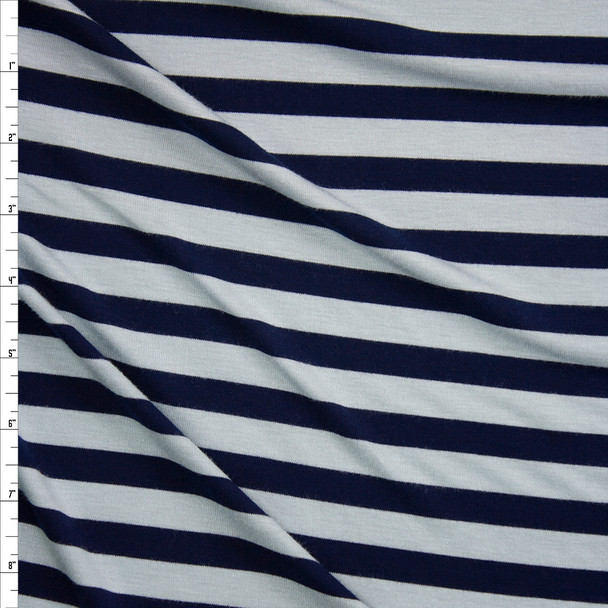 Navy and Light Grey Stripe Rayon Jersey Knit Fabric By The Yard