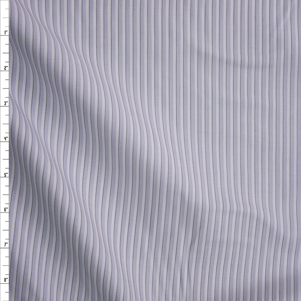 Pale Blue, Grey and White Stripe Fine Cotton Shirting Fabric By The Yard
