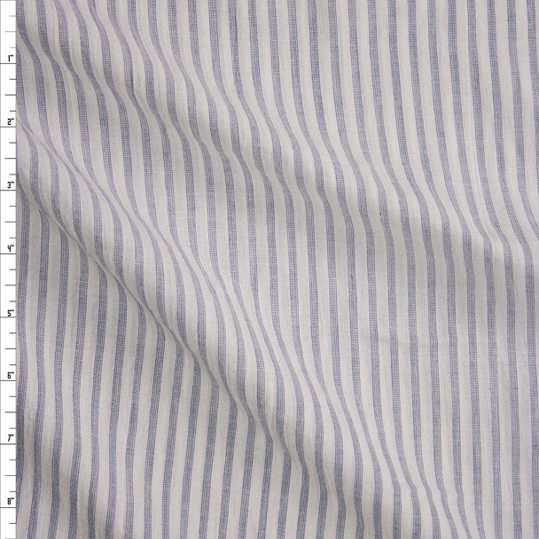 Indigo on Ivory Stripe Cotton Gauze Fabric By The Yard