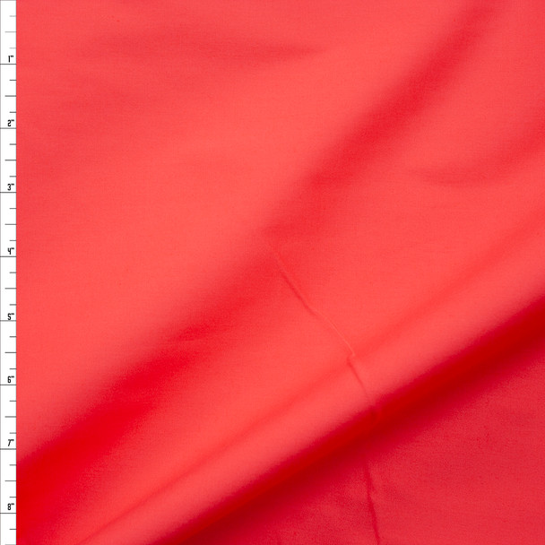 Bright Coral Stretch Cotton Broadcloth Fabric By The Yard