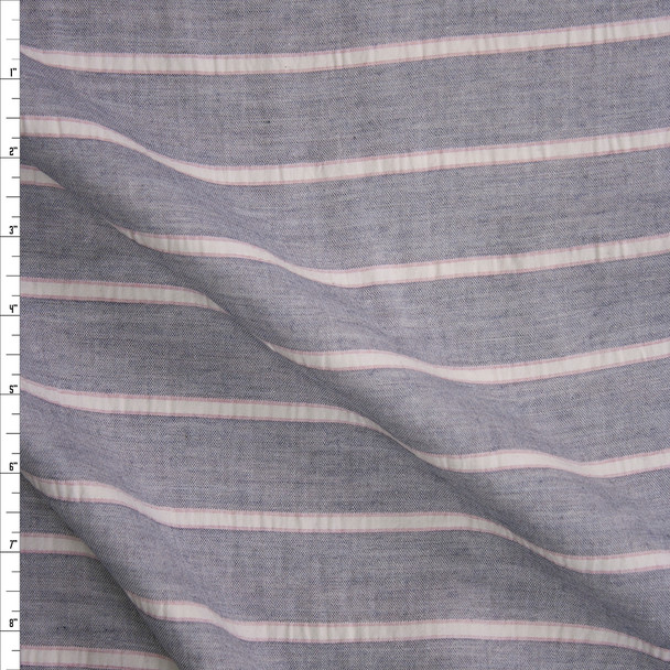 Blue, Pink, and Offwhite Stripe Cotton Double Gauze Fabric By The Yard