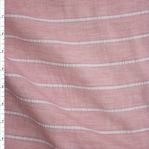 Pink, Blue, and Offwhite Stripe Cotton Double Gauze Fabric By The Yard