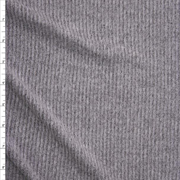Medium Heather Grey Brushed Rib Sweater Knit Fabric By The Yard