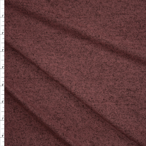 Brick Heather Brushed Stretch Sweater Knit Fabric By The Yard