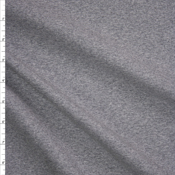 Heather Grey Midweight Mini Rib Knit Fabric By The Yard