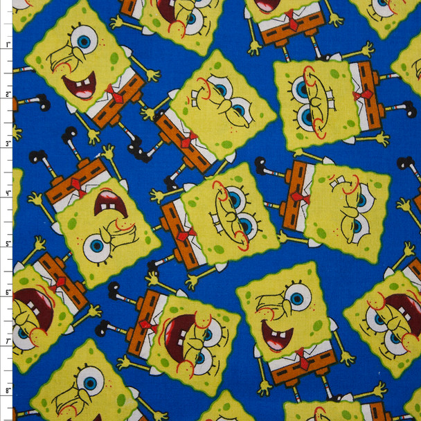 Spongebob on Blue Quilter's Cotton Fabric By The Yard