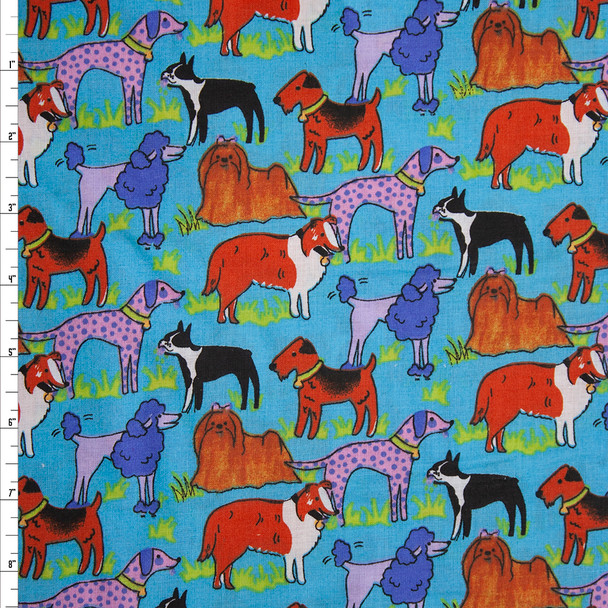Artsy Dogs on Turquoise Quilter's Cotton Fabric By The Yard