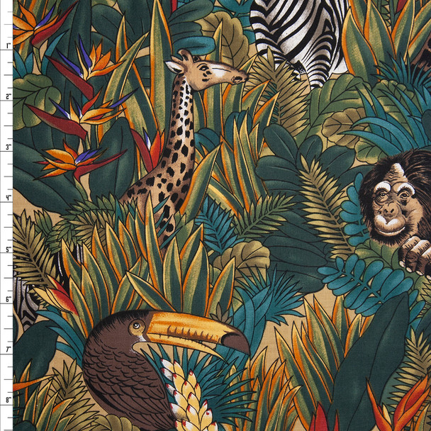 Jungle Full of Animals 60 Wide Quilter's Cotton Fabric By The Yard