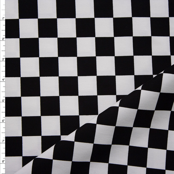 """Black and White 1"""" Checkers Brushed Twill Fabric By The Yard"""