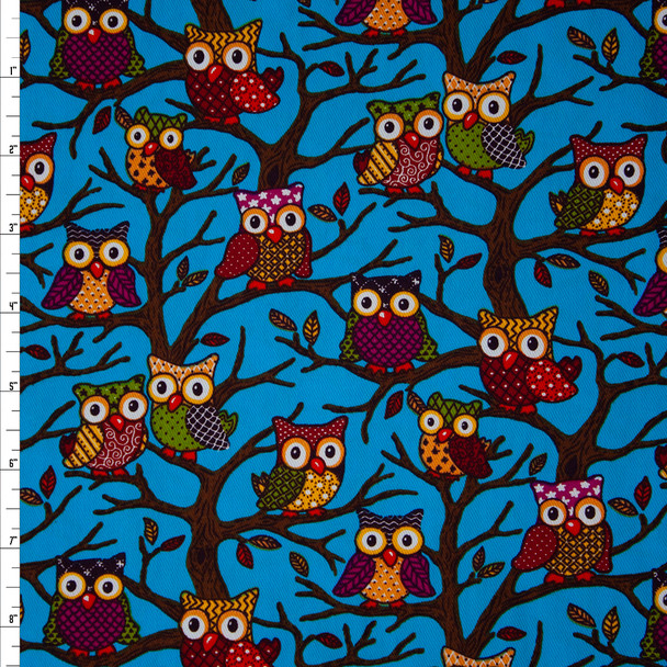 Owls and Branches on Turquoise Brushed Twill Fabric By The Yard