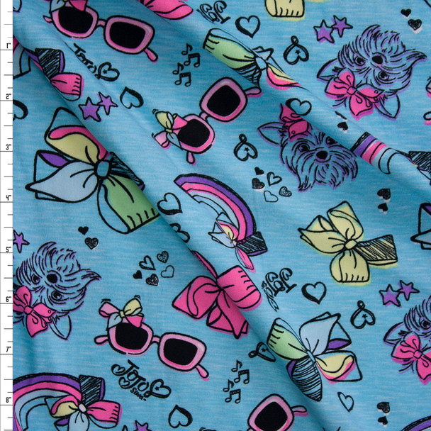 Jojo's Bows, Shades, Pups, and Rainbows on Turquoise Double Brushed Poly/Spandex Knit Fabric By The Yard