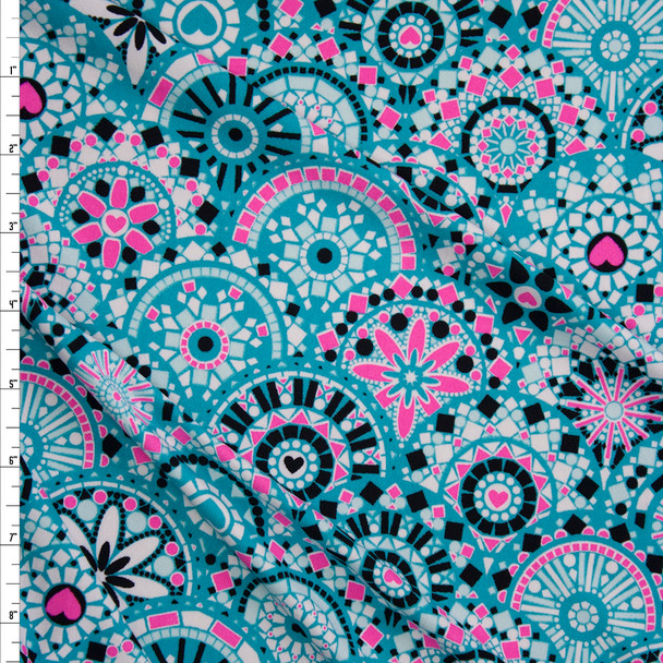 Turquoise and Neon Pink Medallions Double Brushed Poly/Spandex Knit Fabric By The Yard