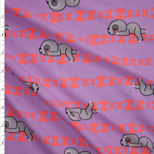 Sleepy Sloths on Lilac Double Brushed Poly/Spandex Knit Fabric By The Yard