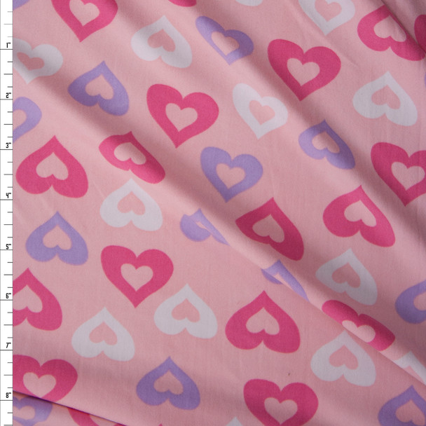Hot Pink, Lavender, and White Hearts on Blush Double Brushed Poly/Spandex Knit Fabric By The Yard