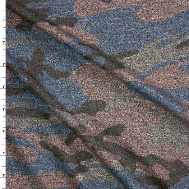 Tan, Brown, Slate, and Pink Heather Camouflage Stretch Midweight French Terry Fabric By The Yard
