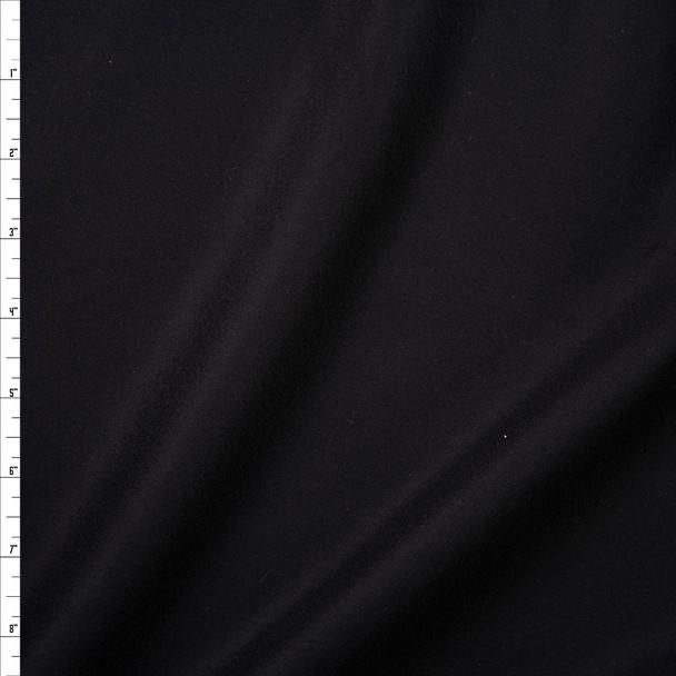 Black Designer Wool Melton Fabric By The Yard