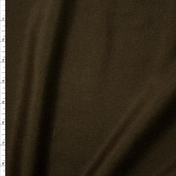 Dark Olive Green Designer Wool Melton Fabric By The Yard