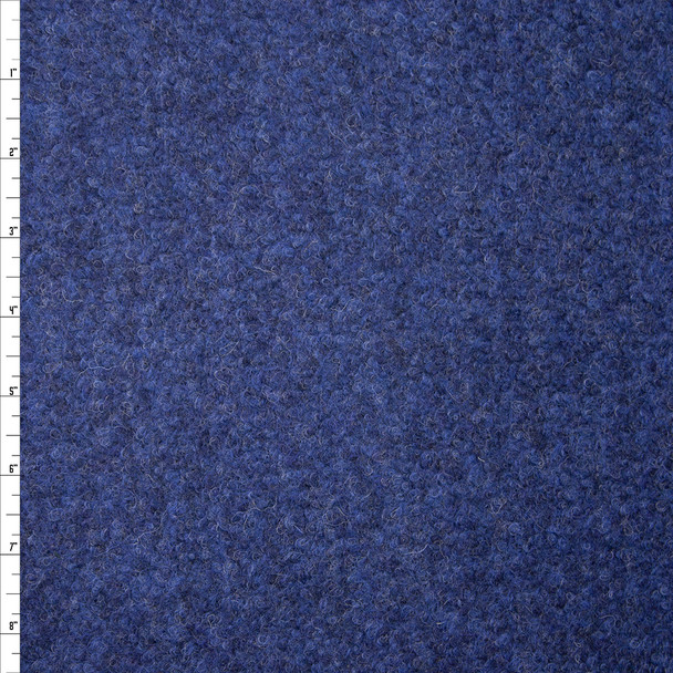 Ocean Blue Designer Wool Boucle Fabric By The Yard