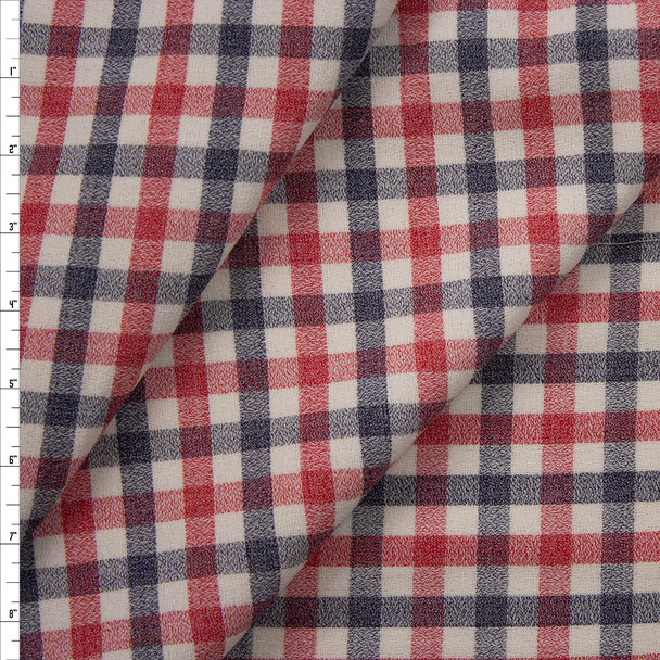Red, Navy, and Ivory Plaid Wool Crepe from Calvin Klein Fabric By The Yard