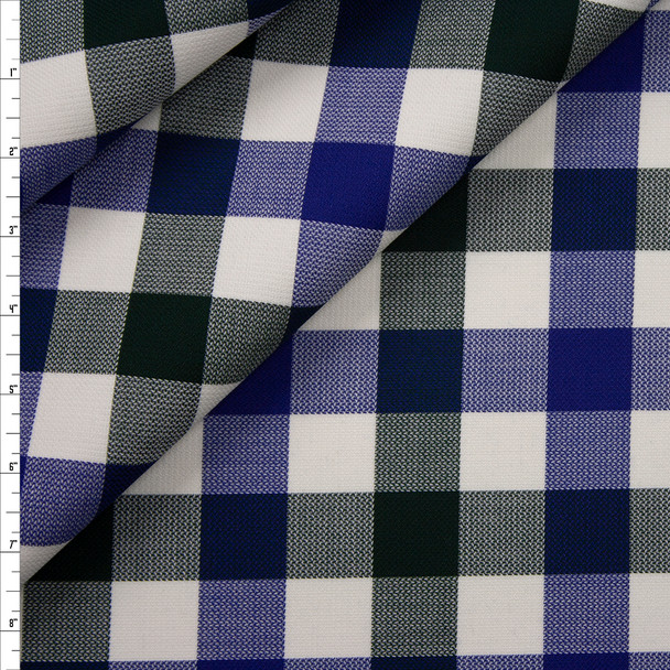 Royal, Emerald, and Ivory Plaid Wool from Calvin Klein Fabric By The Yard