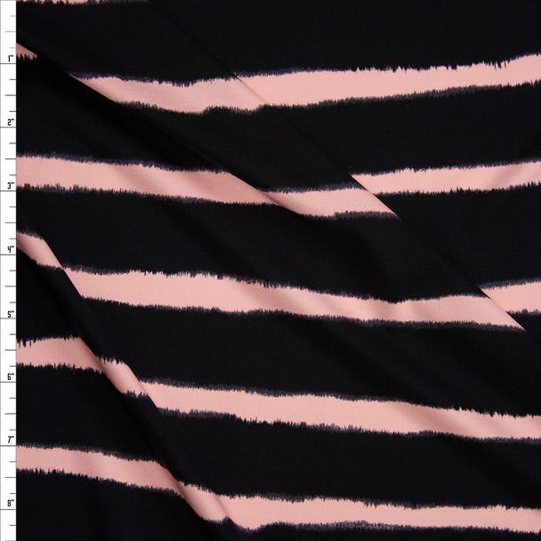 Blush and Black Horizontal Stripe Designer Nylon/Spandex from Manhattan Beachwear Fabric By The Yard