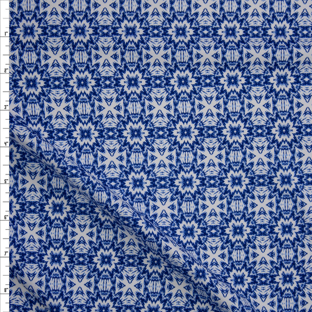 Blue on White Kaleidoscope Designer Nylon/Spandex from Manhattan Beachwear Fabric By The Yard