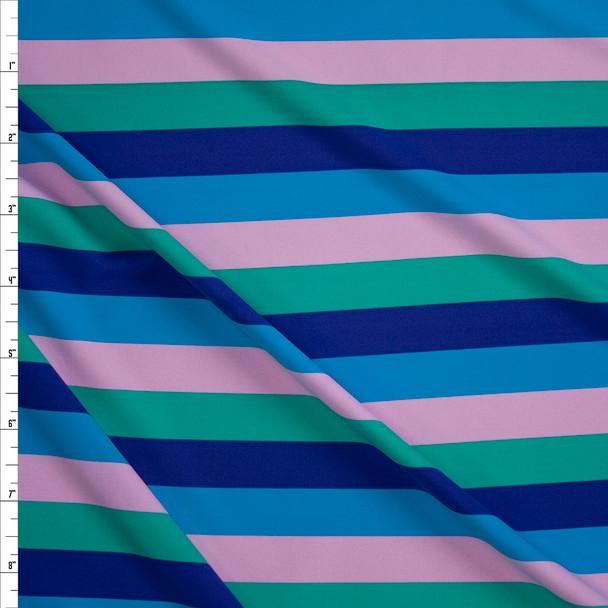 "Blue, Purple, Green, and Blush 3/4"" Horizontal Stripe Designer Nylon/Spandex from Manhattan Beachwear Fabric By The Yard"