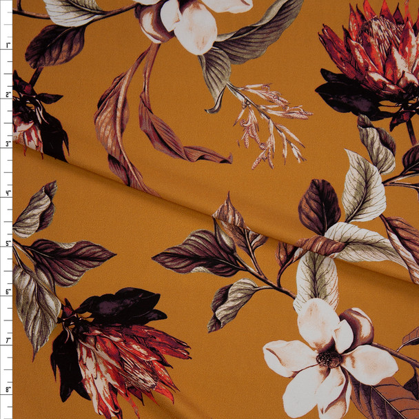 Burnt Orange, Taupe, and Offwhite Floral on Mustard Designer Nylon/Spandex from Manhattan Beachwear Fabric By The Yard