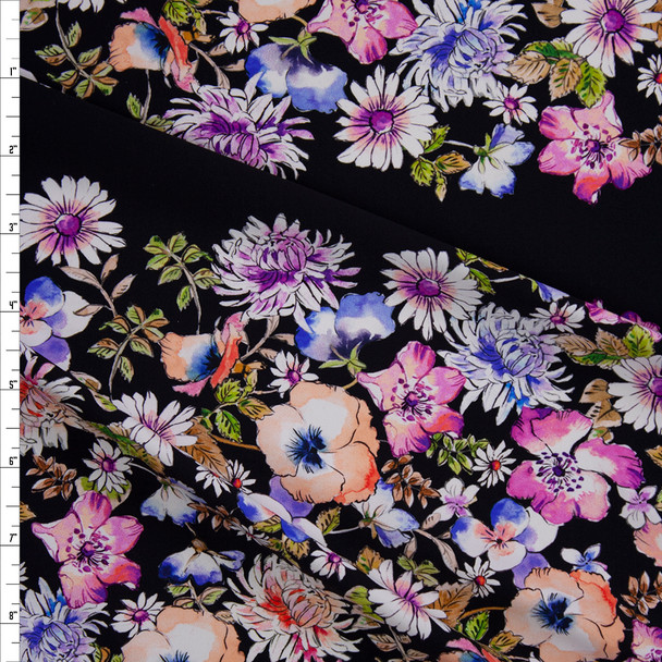 Watercolor Wide Floral Horizontal Stripe on Black Designer Nylon/Spandex from Manhattan Beachwear Fabric By The Yard