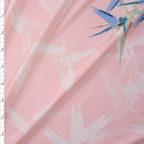Pale Pink Floral Designer Nylon/Spandex from Manhattan Beachwear Fabric By The Yard
