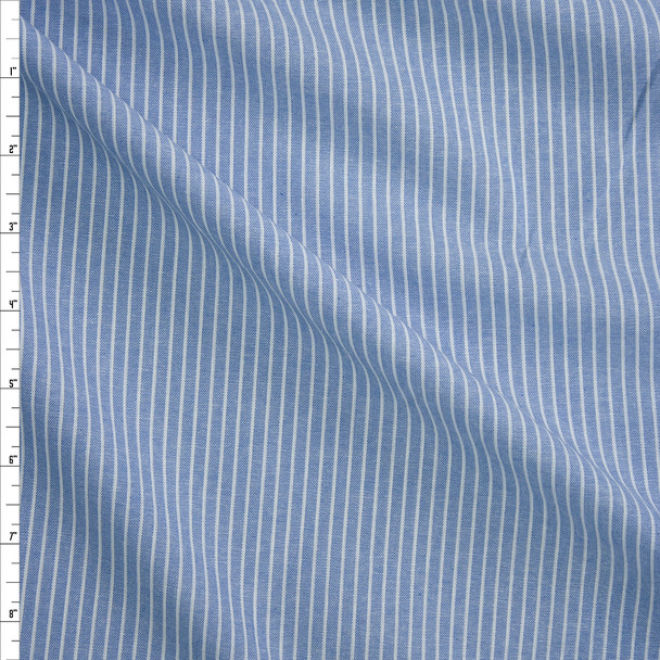 White on Blue Pinstripes Chambray Fabric By The Yard
