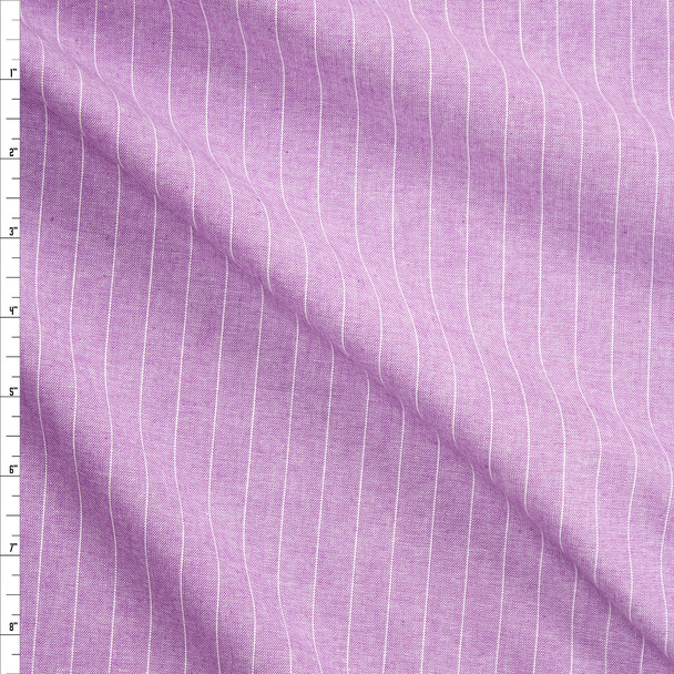 White Pinstripes on Lavender Chambray Fabric By The Yard