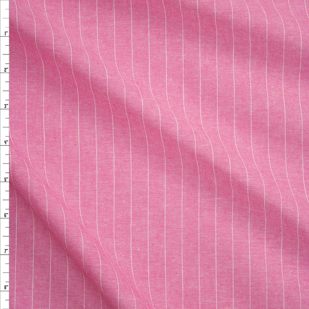 White Pinstripes on Pink Chambray Fabric By The Yard