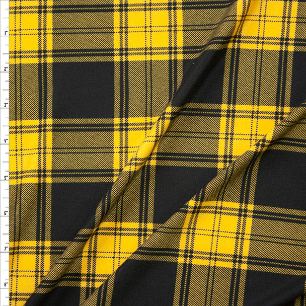 Black and Goldenrod Plaid Double Brushed Poly/Spandex Fabric By The Yard