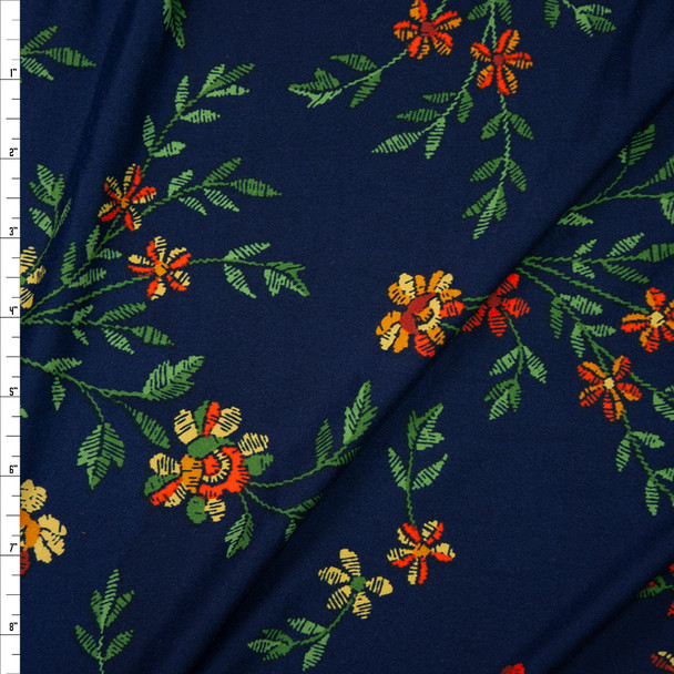 Orange, Green, and Yellow Grunge Floral on Navy Brushed Poly/Spandex Fabric By The Yard
