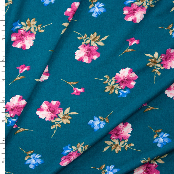 Pink and Blue Flora on Jade Green Double Brushed Poly/Spandex Fabric By The Yard