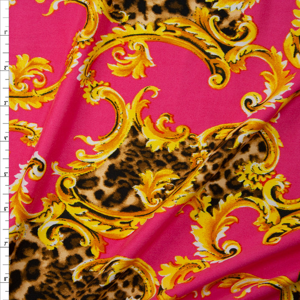 Cheetah Print and Gold Scrollwork on Bright Pink Double Brushed Poly/Spandex Fabric By The Yard