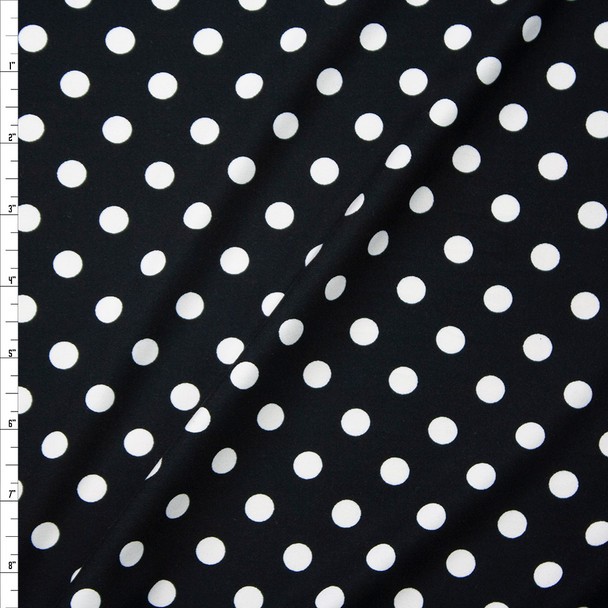White on Black Polka Dots Double Brushed Poly/Spandex Fabric By The Yard