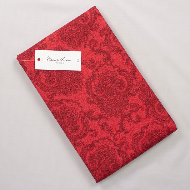 Boundless Quilter's Cotton Tolle Ruby (Bargain 4y Cut) Fabric By The Yard