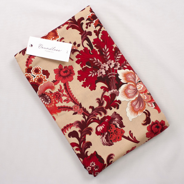 Boundless Quilter's Cotton Main Floral Burgundy (Bargain 4y Cut) Fabric By The Yard