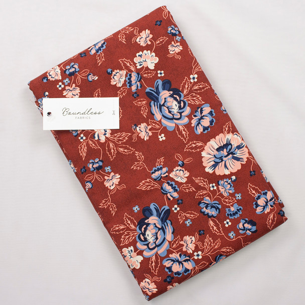 Boundless Quilter's Cotton Main Floral Rust (Bargain 4y Cut) Fabric By The Yard