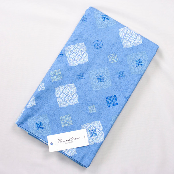 Boundless Quilter's Cotton Madeline Sky (Bargain 3y Cut) Fabric By The Yard